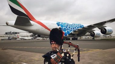 'Superjumbo' Emirates Airbus A380, World's Largest Passenger Plane Lands at Scotland's Glasgow Airport From Dubai (Watch Video)