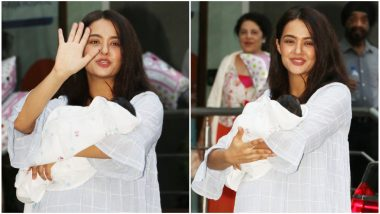 Surveen Chawla is a Happy Mother as She Takes her Newborn Daughter, Eva Home - View Pics
