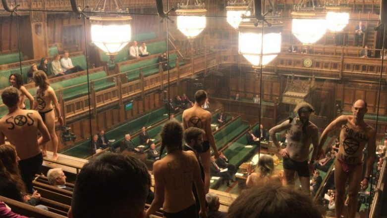 Climate Change Protesters Strip Naked in UK Parliament to Draw Attention on 'Ecological Crisis', Arrested As Pictures Go Viral