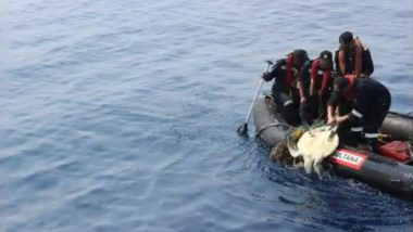 Indian Coast Guard Rescues Endangered Olive Ridley Turtle Entangled in Net Along Maritime Boundary With Pakistan (Watch Video)