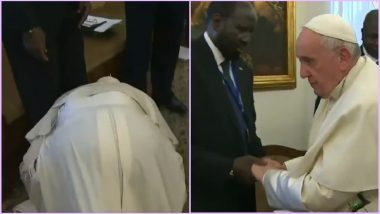 Pope Francis Kneels Down & Kisses Feet of South Sudan Leaders Urging Them to Keep the Peace (Watch Video)