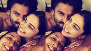 Deepika Padukone Faces a Snuggle Attack from Ranveer Singh and Anisha – See Cute Picture