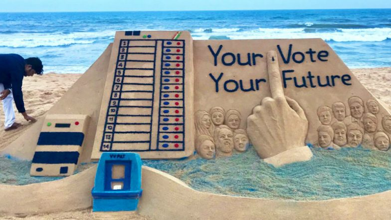Lok Sabha Elections 2019: Sudarshan Pattnaik Urges Citizens to Vote for Nation's Development With EVM Sand Art (View Pic)