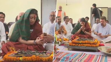 Smriti Irani Performs Hawan With Husband Zubin Irani Ahead of Filing Nomination From Amethi Constituency in UP; See Pics
