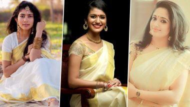 Vishu 2019 Fashion: Sai Pallavi, Priya Prakash Varrier, Kavya Madhavan – 8 Actresses Who Rocked the Kerala Kasavu Saree Look! (See Pics)