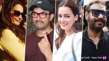2019 Lok Sabha Elections: Madhuri Dixit, Aamir Khan, Dia Mirza, Ajay Devgn Cast Their Votes in Mumbai (See Pics)