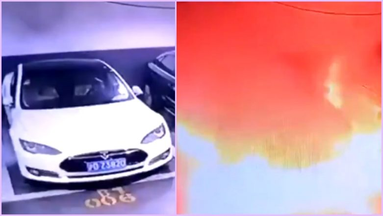 Tesla Model S Explodes in China: Electric Car Burst Into Flames in Parking Lot; Investigation Underway (Watch Viral Video)