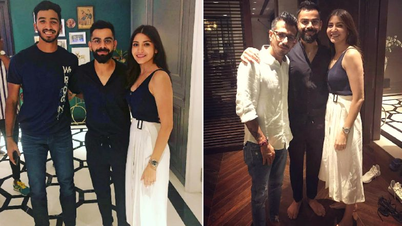 Virat Kohli and Anushka Sharma Host Party at Their Worli Residence: Yuzvendra Chahal and Other RCB Players Strike a Pose With Stylish Couple! (View Pics)