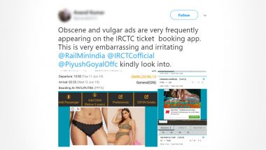 Man Tweets Complain to IRCTC About 'Obscene and Vulgar' Ads on the Ticket Booking App; Gets Embarrassing Reply From Indian Railways