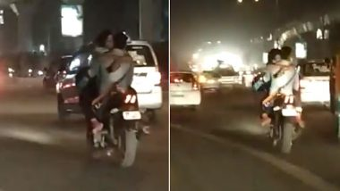 Delhi Couple Caught Making Out on Bike in Rajouri Garden; IPS Shares Video, Asks For New Traffic Regulations