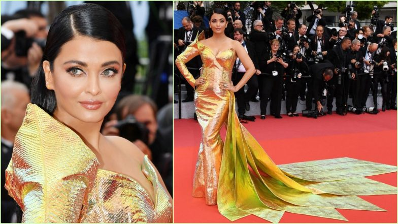 Aishwarya Rai Bachchan's Cannes 2019 Look 1: Indian Star Shimmers in Lustrous Fish-Cut Gown From Jean-Louis Sabaji (View Pics)