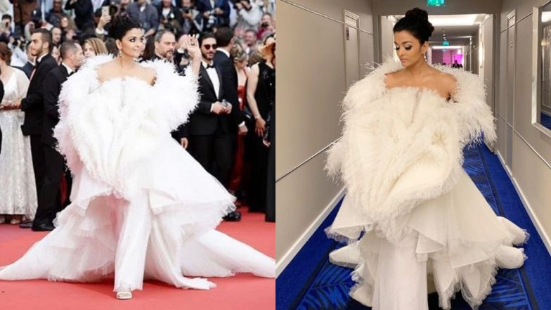 Aishwarya Rai Bachchan Goes For A Dramatic Yet Underwhelming Feathered Gown As Her Second Red Carpet Look At The 2019 Cannes Film Festival - View Pics