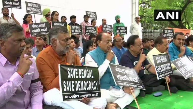 Bengal Election Violence: BJP Holds Silent Demonstration at Jantar Mantar to Protest Clashes at Amit Shah's Kolkata Roadshow