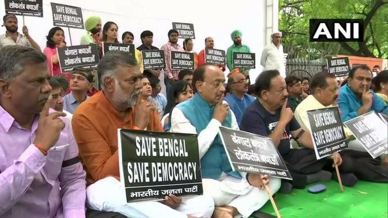 Bengal Election Violence: BJP Holds Silent Demonstration at Jantar Mantar to Protest Clashes at Amit Shah's Kolkata Roadshow