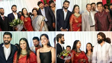 Chiranjeevi, Rashmika Mandanna, Yash, and Other Celebs Grace Yuva Rajkumar-Sridevi Byrappa's Wedding Reception! See Pics