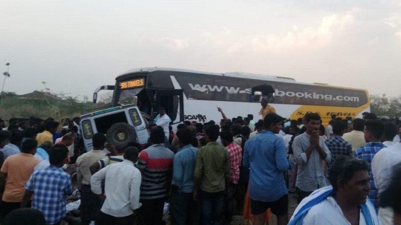 Andhra Pradesh: Volvo Bus Collides With Transport Vehicle in Kurnool; 13 Dead, Several Injured