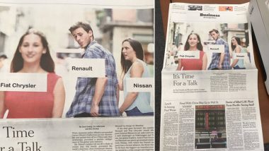 Distracted Boyfriend Meme Features on NYT Business Section's Front Page, Depicts Renault, Nissan and Fiat Chrysler As Characters From the Funny Meme
