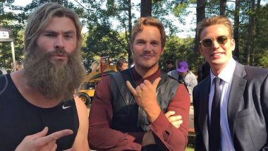 Avengers: Endgame BTS Still: Chris Hemsworth, Chris Pratt and Chris Evans Pose Together and Marvel Fans Can't Get Over this 'Beautiful Trinity'