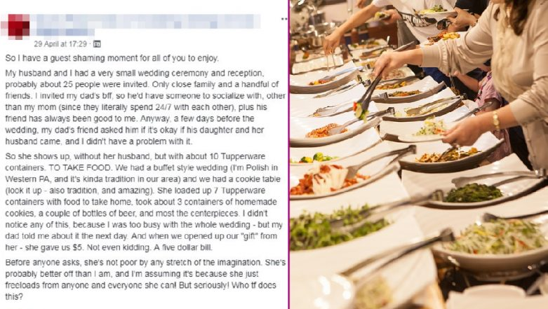 Bride Goes Ballistic After Cheap Guest Fills 10 Containers With Food from Her Wedding Buffet and Runs Off