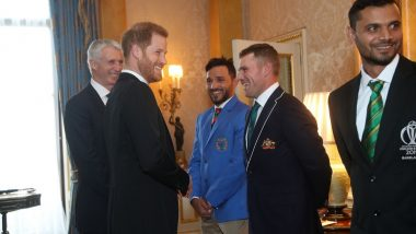 Royal Garden Party 2019: Prince Harry Stokes England-Australia Rivalry, Sledges Aaron Finch at Buckingham Palace Ahead of ICC Cricket World Cup 2019