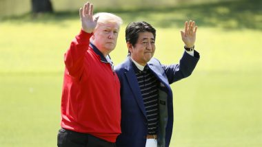 Donald Trump, Japan PM Shinzo Abe Have First Informal Chat Over Golf, Golfer Isao Aoki Also Joins; See Pics