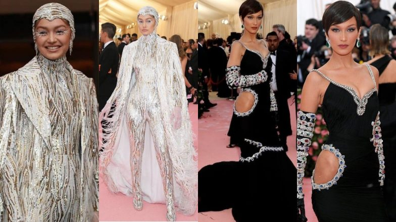 8d6c414a8e256 Sisters Gigi Hadid And Bella Hadid's Yin Yang Colours At The Red Carpet Of  Met Gala