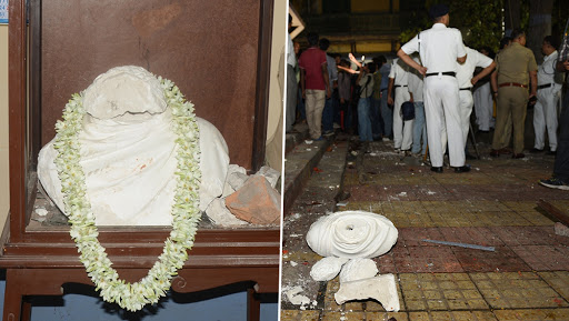 West Bengal Poll Violence: Kolkata Police Forms SIT to Probe Ishwar Chandra Vidyasagar's Statue Vandalism During Amit Shah's Lok Sabha Rally