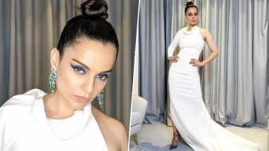 Cannes 2019: Kangana Ranaut Looks Ravishing in a White Single-Sleeved Gown and Blue Winged Eyeliner at the Chopard Party – See Pics