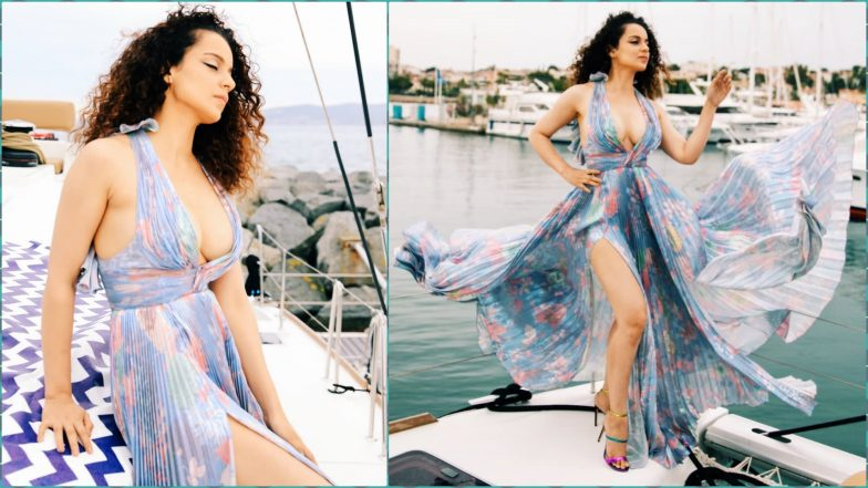 Cannes 2019: Kangana Ranaut's Maxi Dress With a Plunging Neckline and Thigh High Slit Sets the Temperature Soaring
