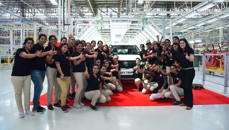 MG Hector SUV First Production Model Rolled Out From Gujarat Facility; To Be Unveiled in India on May 15: View Pics