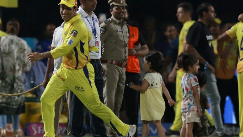 MS Dhoni Plays with Ziva & Gracia After CSK vs DC, Qualifier 2 (Watch Video)