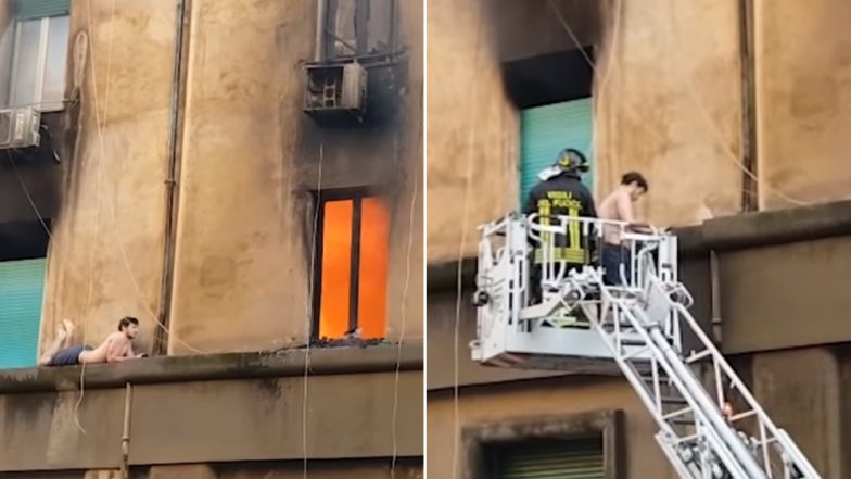 Man Clings to a Building on Fire, Firefighters Rescue Him on a Crane in Rome (Watch Dangerous Video)