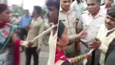 Uttar Pradesh Shocker: Mathura Woman Drags Mobile Thief With a Towel Around His Neck, Takes Him to Police Station
