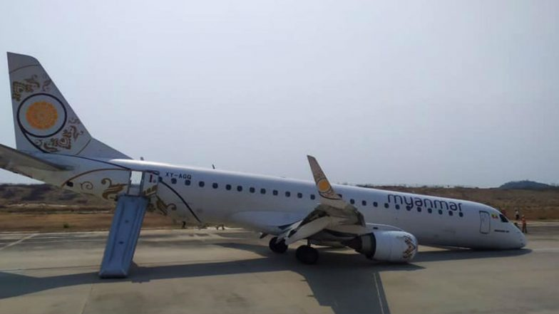 Myanmar Plane Makes Emergency Landing, Pilot Saves Lives in Nail-Biting Touchdown After Airplane's Landing Gear Fails