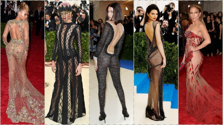 Naked Dresses at Met Gala Red Carpet: Kendall Jenner, Bella Hadid, JLo, Beyonce & Others Who Wore Most-Revealing Outfits at the Met Ball (View Pics)