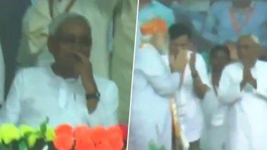 Nitish Kumar's Silence Amid PM Modi Leading Vande Mataram Chants at Darbhanga Rally Goes Viral, Watch Video