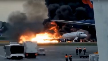 Russian Plane Crash: Videos from Eyewitnesses Show Massive Blaze at Moscow's Sheremetyevo Airport