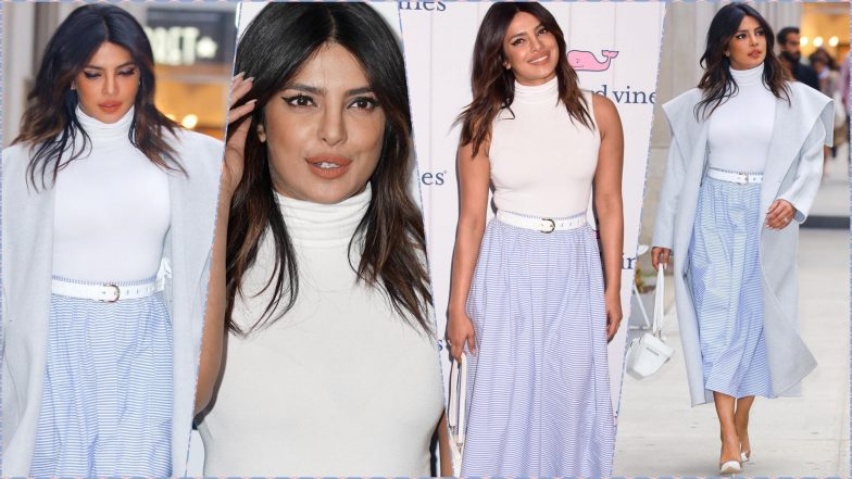Priyanka Chopra Jonas Makes a Chic Statement in a Striped Midi Skirt, Sleeveless Turtleneck and Sexy Winged Eyeliner (View Pics)