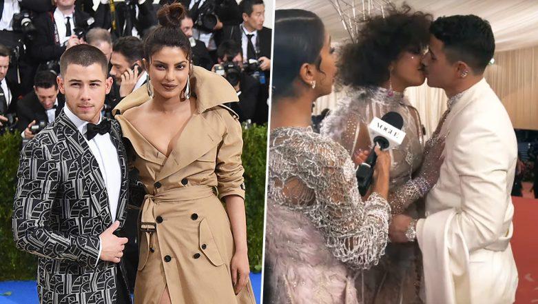 Met Gala 2019: Priyanka Chopra and Nick Jonas Wish Each Other 'Happy Third Anniversary' and Steal a Kiss! Watch Video