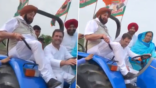 Rahul Gandhi Drives Tractor While Campaigning For Lok Sabha Elections 2019 in Ludhiana With Captain Amarinder Singh, Shares Video