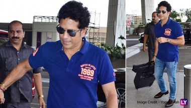 Sachin Tendulkar Spotted at Mumbai Airport! Is Master Blaster Going to Cheer for Team India in ICC Cricket World Cup 2019 at England? View Pics