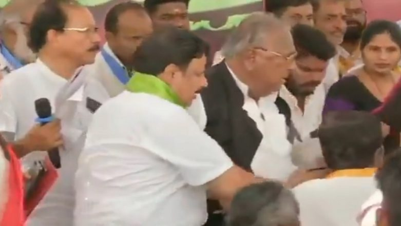 Telangana Intermediate Results Goof-Up: Amid Protests, Scuffle Between Congress' Hanumantha Rao, Nagesh Mudiraj Breaks Out; Watch Video