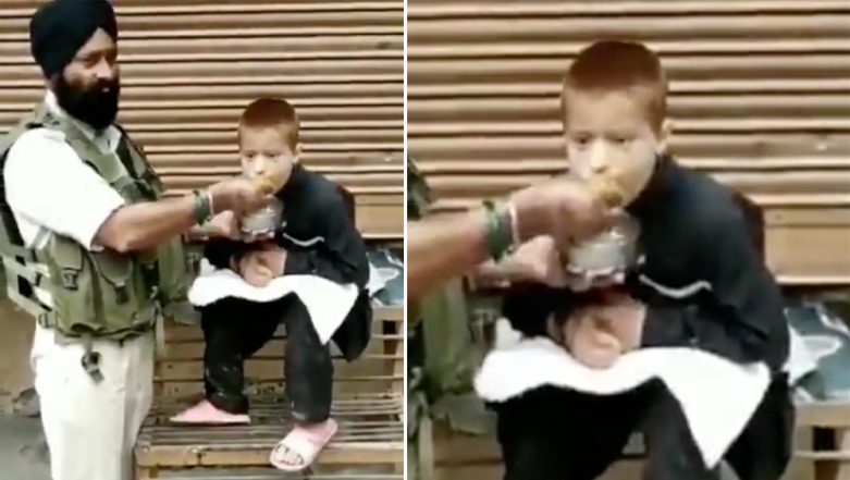 Jammu and Kashmir CRPF Personnel Feeds Differently Abled Child With His Hands, Video Goes Viral