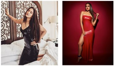 Sonakshi Sinha's Black Slip Dress Or Red Thigh-High Slit Gown, Which Latex Outfit is the Hottest? (View Pics)