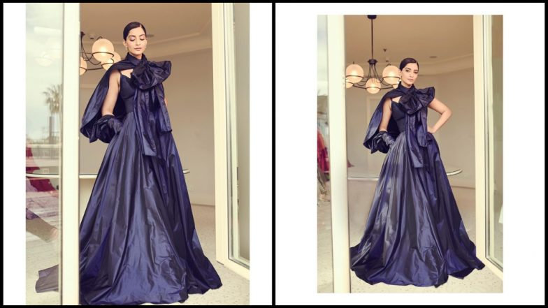 Cannes 2019: Sonam Kapoor Makes Another Ravishing Appearance in a Navy Blue Elli Saab Gown-View Pics