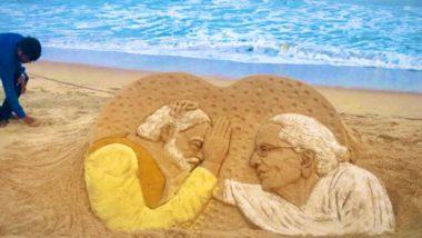 Sudarsan Pattnaik Creates Sand Art of PM Narendra Modi With Mother Heeraben Modi Ahead of His Visit to Gujarat