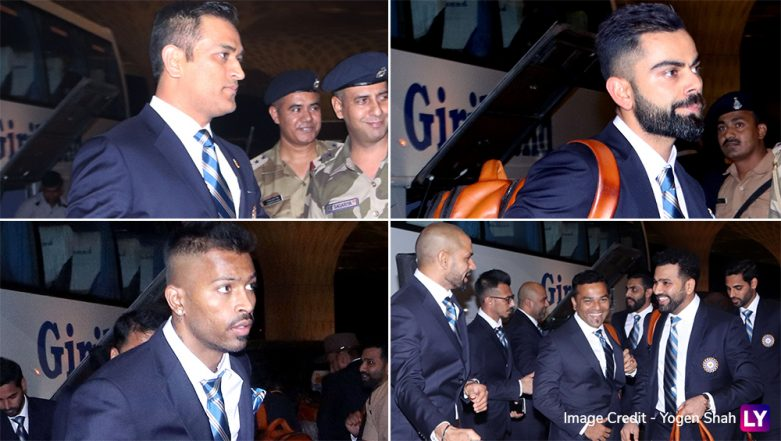 ICC Cricket World Cup 2019: Indian Team Departs For England, View Pics of Virat Kohli, MS Dhoni and other Players Leaving From Mumbai Airport (View Pics & Video)