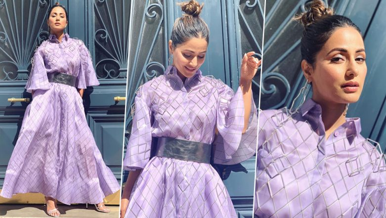 Hina Khan at Cannes 2019: Actress Looks Ravishing in a Lavender Outfit and Fans Can't Stop Gushing Over Her Day 3 Look (View Pics)