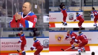 Russian President Vladimir Putin Tumbles While Taking Victory Lap at Annual Ice Hockey Exhibition, Watch Video