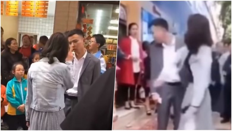 Angry Girlfriend Slaps Her Boyfriend 52 Times For Not Gifting Her a Phone on Chinese Valentine's Day! (Watch Viral Video)